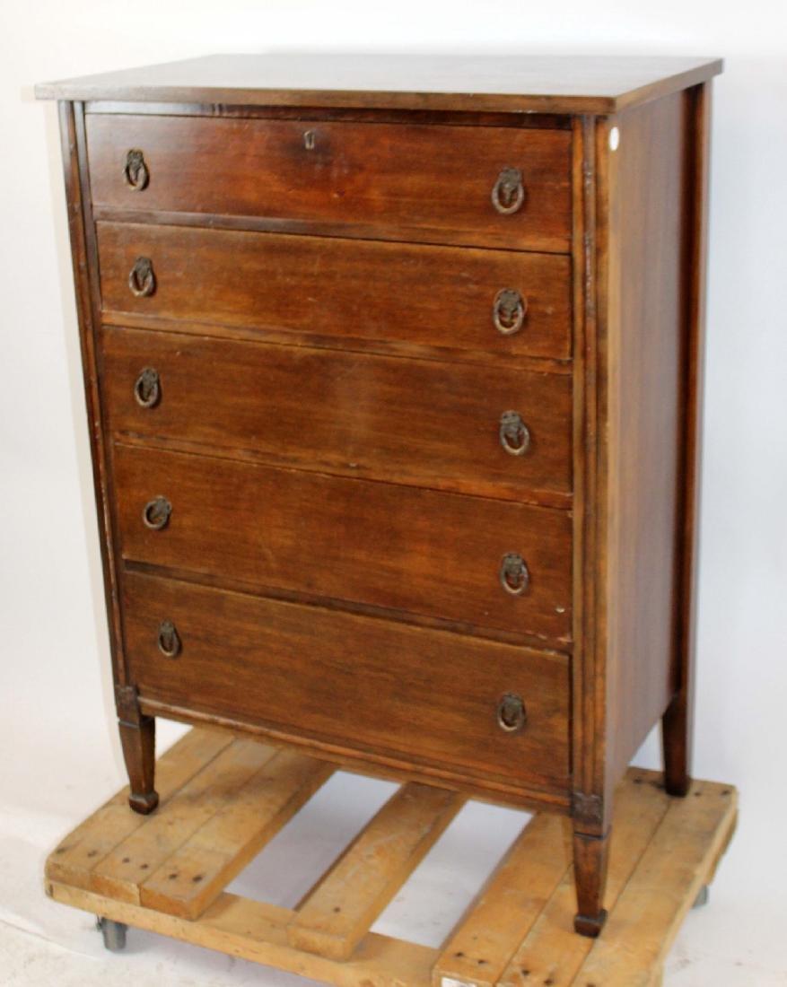 Antique mahogany 5 drawer chest - 3