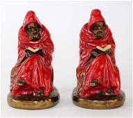 Pair of American Marion polychrome bronze clad bookends