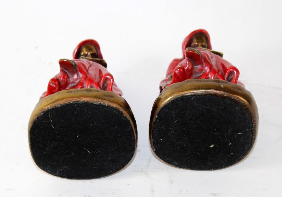 Pair of American Marion polychrome bronze clad bookends - 4