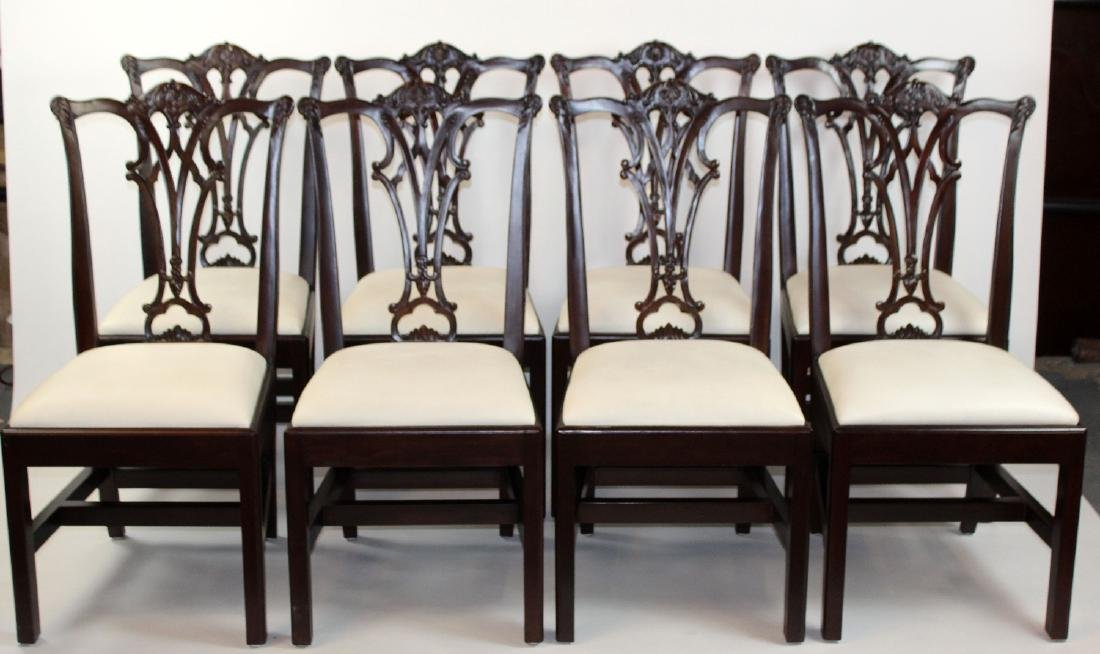 Set of 8 Chippendale style mahogany side chairs