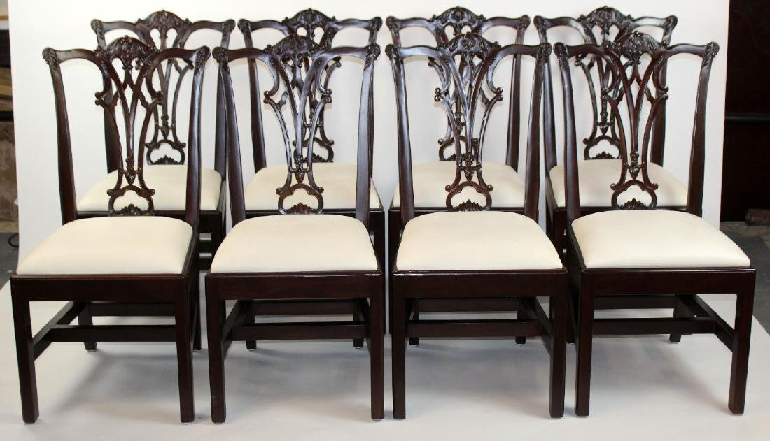Set of 8 Chippendale style mahogany side chairs - 3