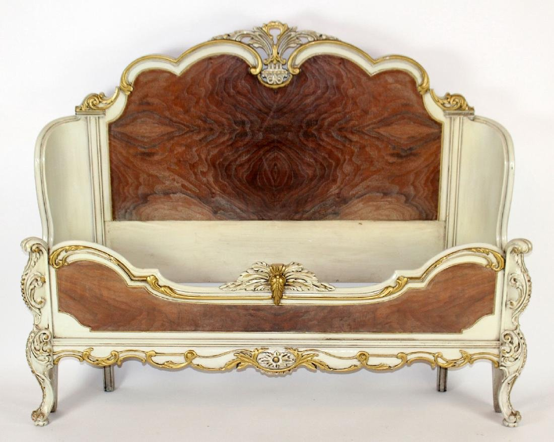 Louis XV style full size painted bed