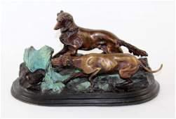 After PJ Mene verdigris bronze statue hunting dogs