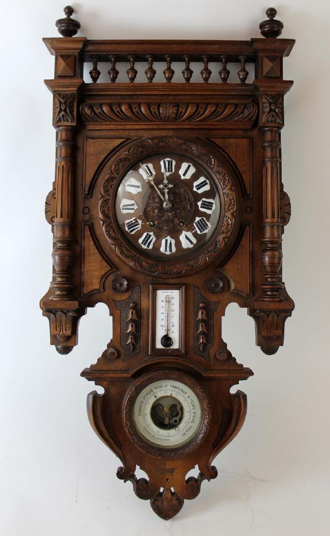 French wall clock and barometer in walnut