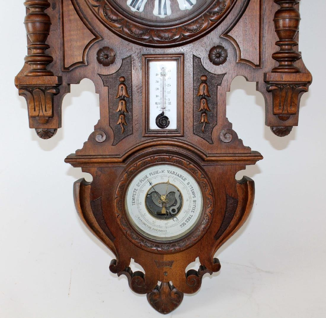 French wall clock and barometer in walnut - 2