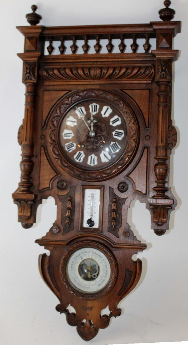 French wall clock and barometer in walnut - 3