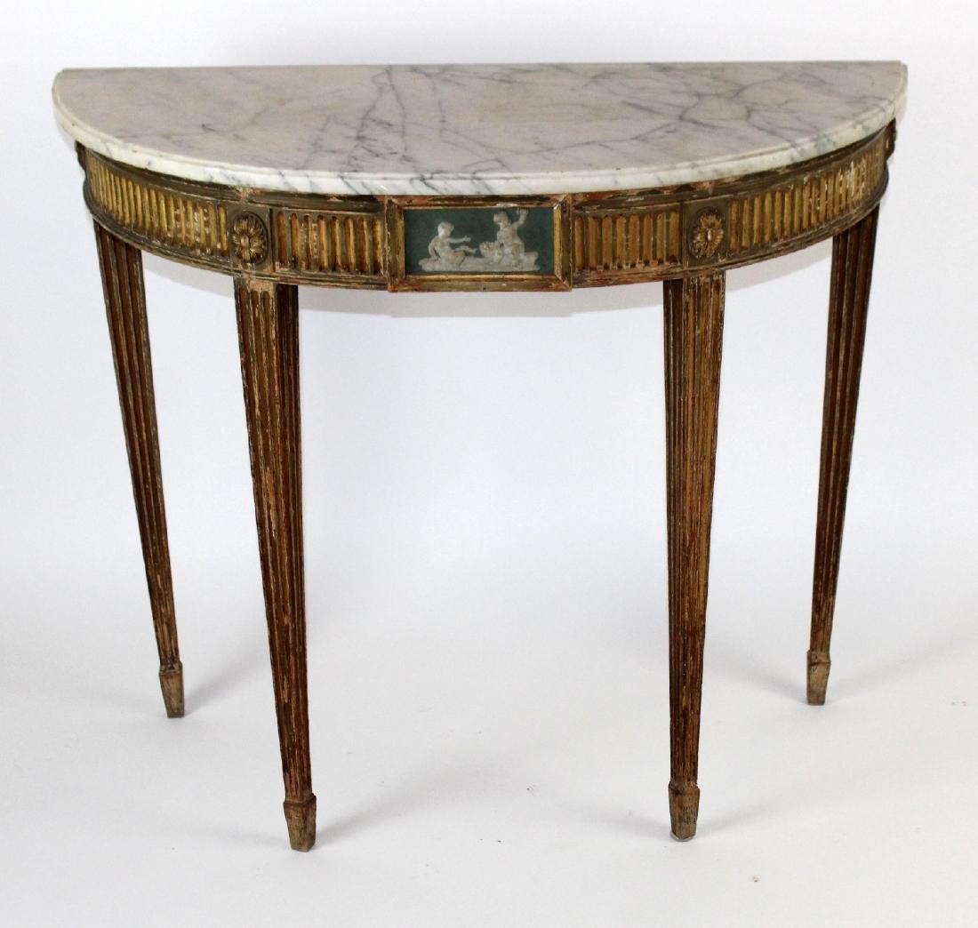 Adam demi lune marble top console - 3