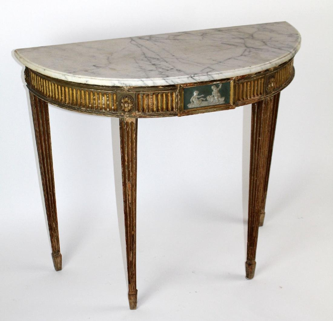 Adam demi lune marble top console - 5