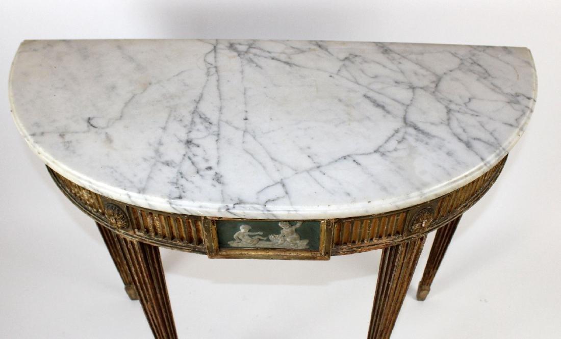 Adam demi lune marble top console - 6