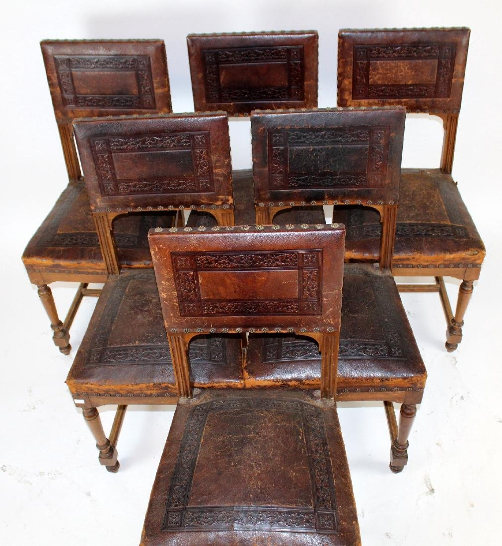 6 embossed leather dining chairs - 4