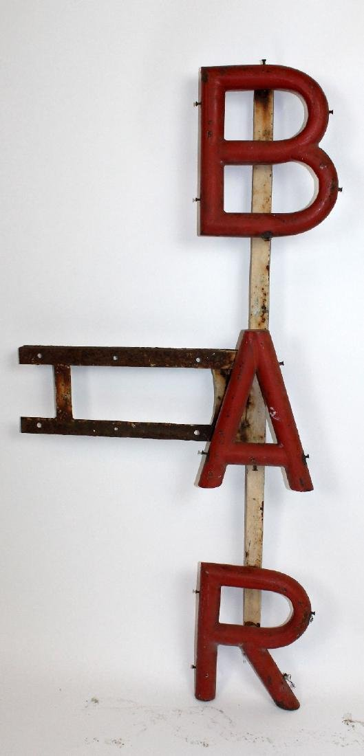 Vintage French painted metal BAR sign - 2