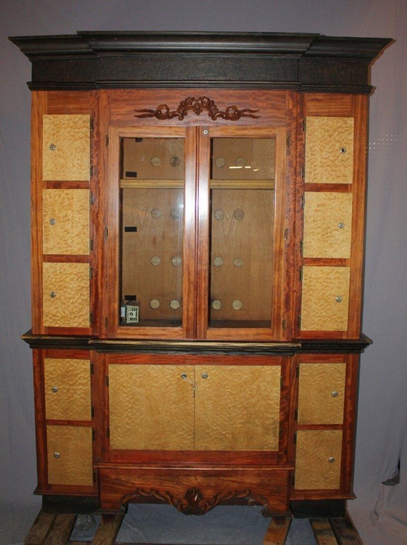 Custom made 14 door humidor cabinet with satinwood