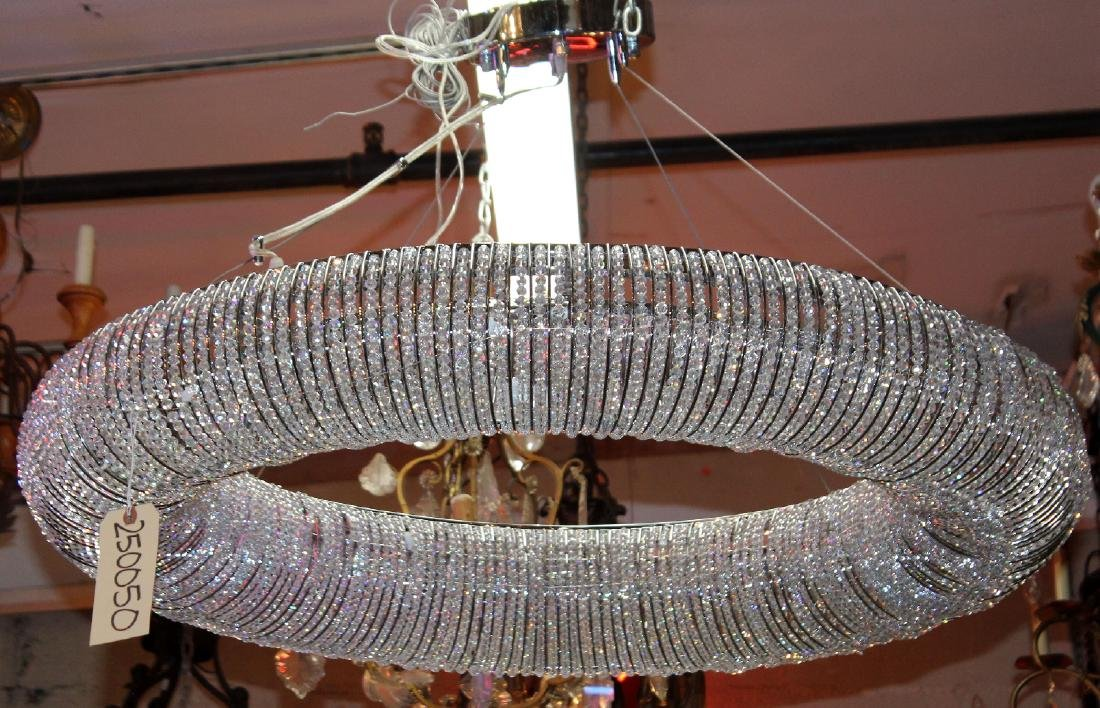 Modern circular ring light with crystal beads - 3