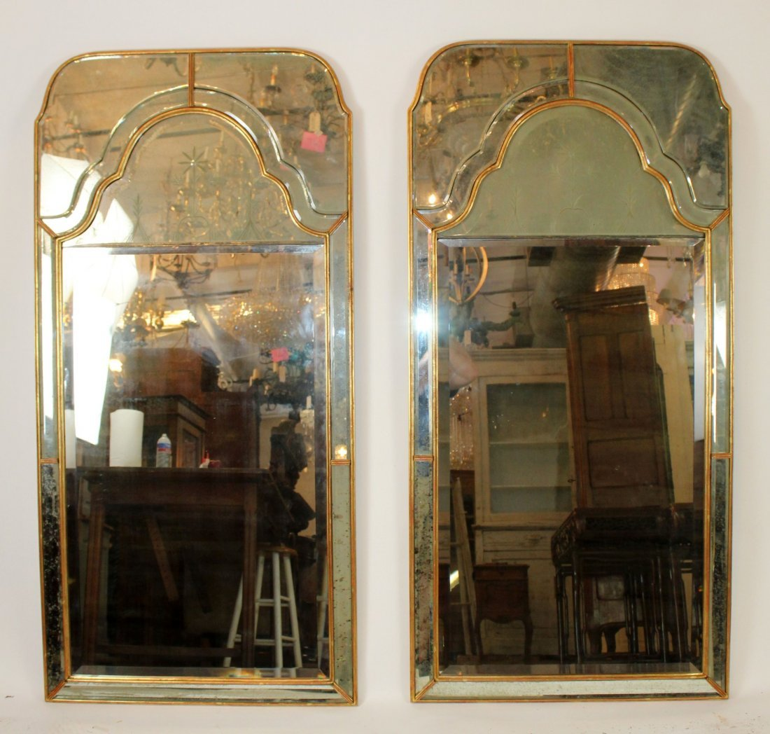 Pair of vintage Mirror Fair brass mirrors