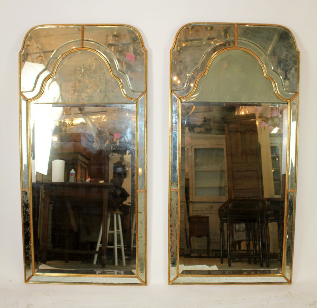 Pair of vintage Mirror Fair brass mirrors - 2