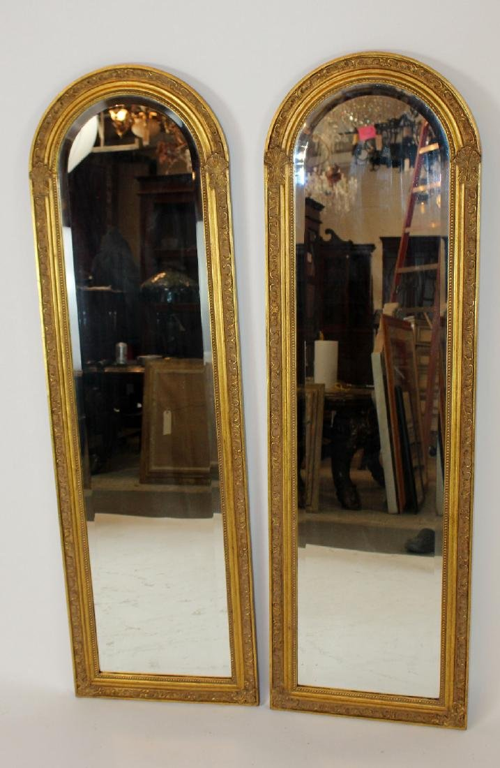 Pair of gold arch top mirrors - 2