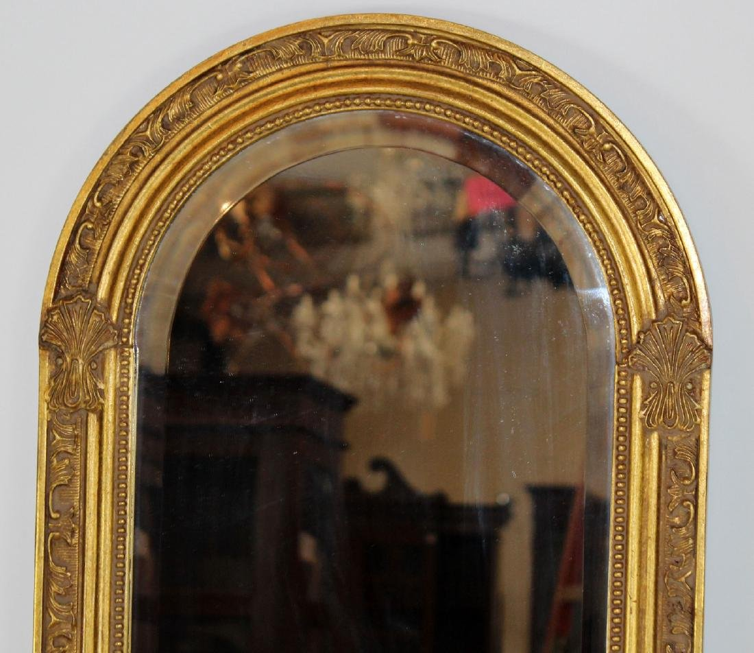 Pair of gold arch top mirrors - 3
