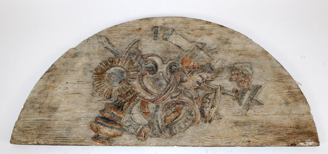 Italian painted pine relief demi lune panel