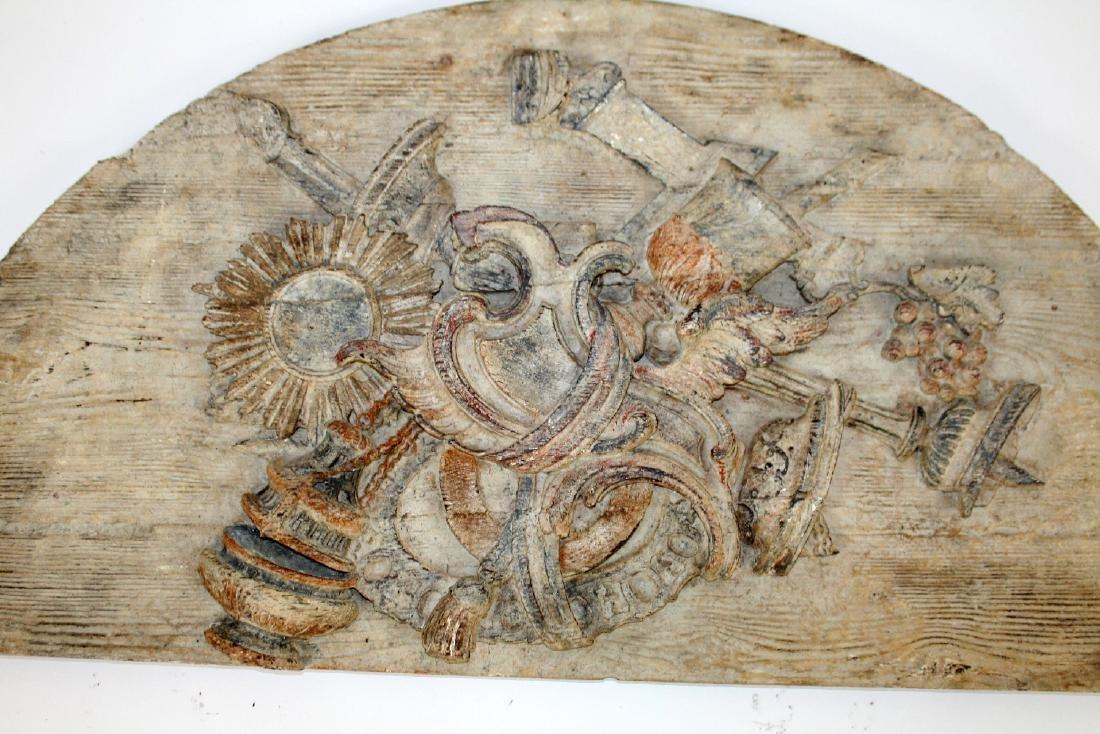 Italian painted pine relief demi lune panel - 3