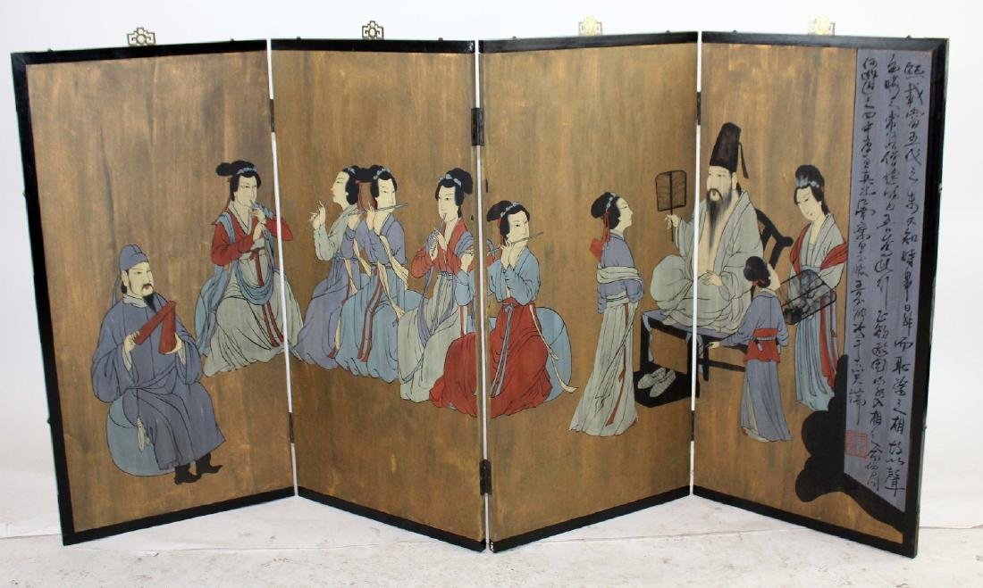 Chinese 4 panel painted screen