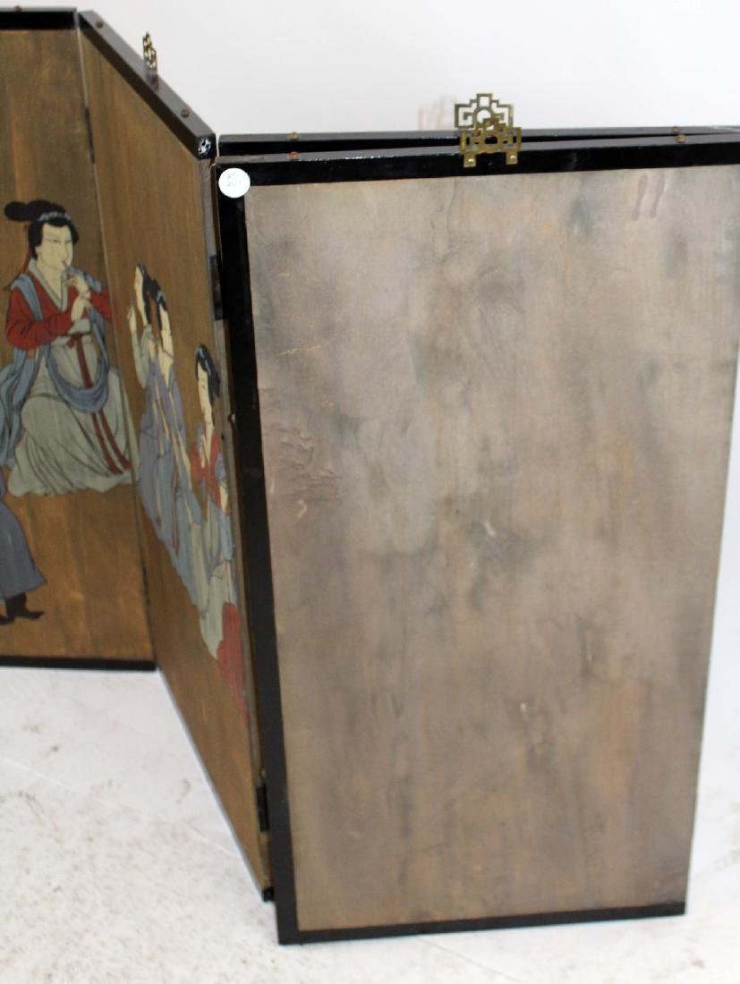 Chinese 4 panel painted screen - 2