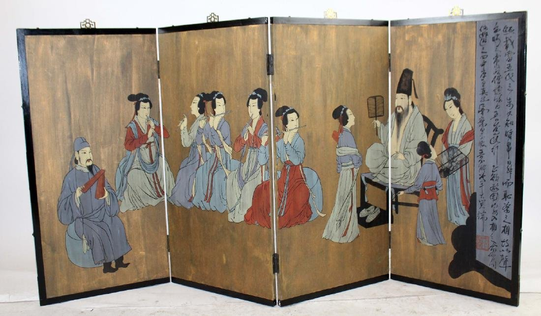 Chinese 4 panel painted screen - 3