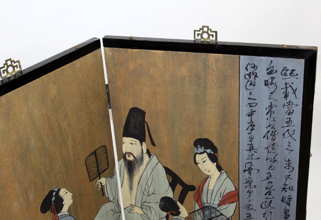 Chinese 4 panel painted screen - 4