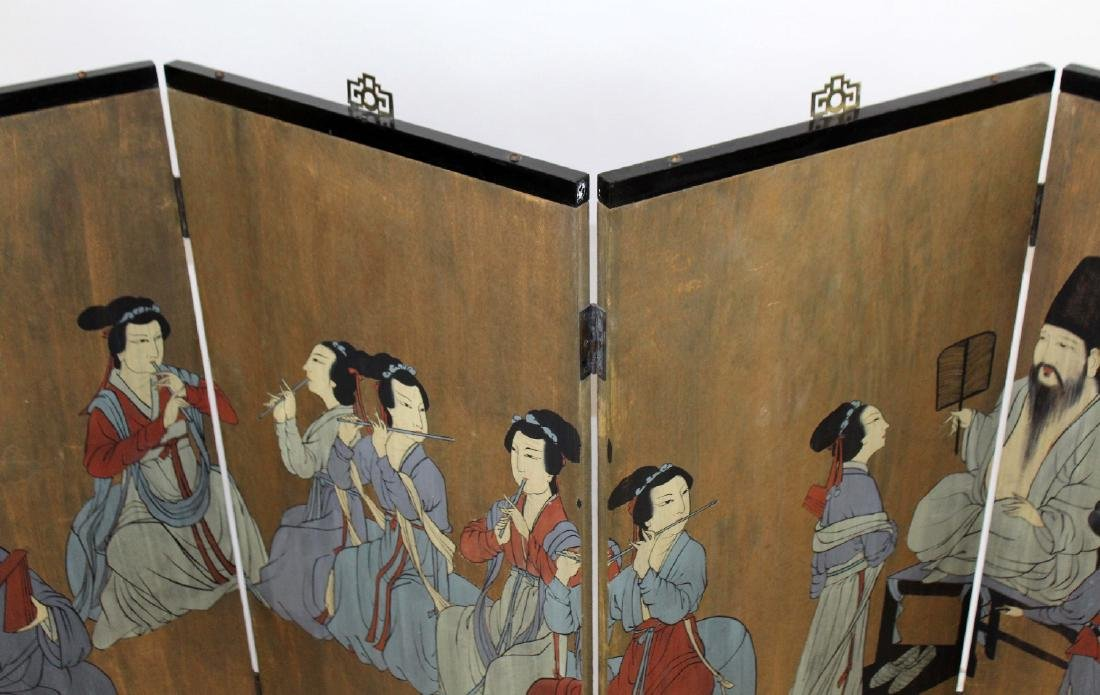 Chinese 4 panel painted screen - 5