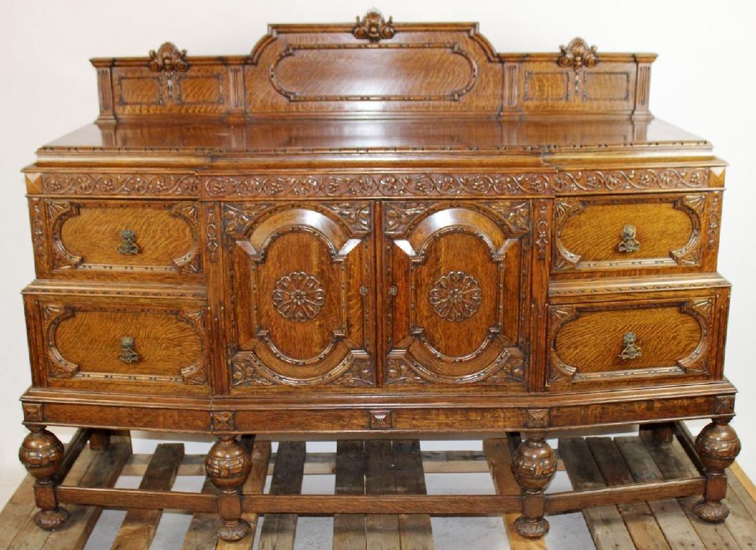 American oak carved sideboard