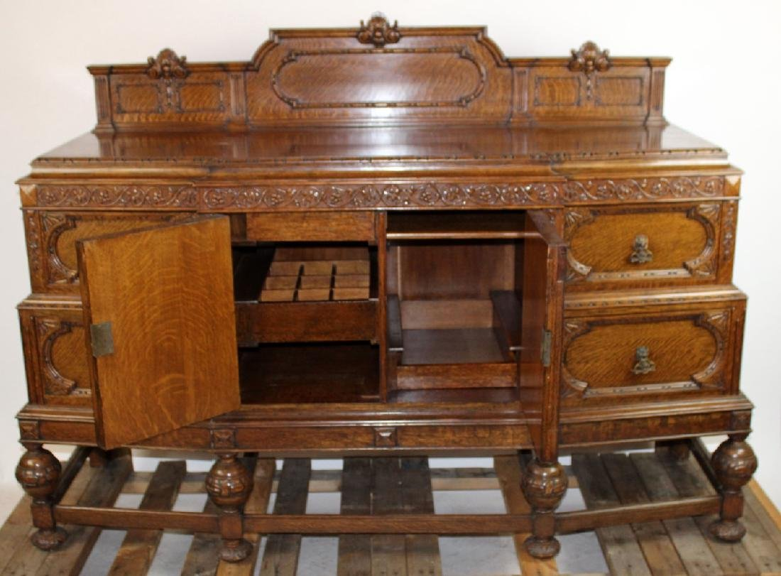 American oak carved sideboard - 2