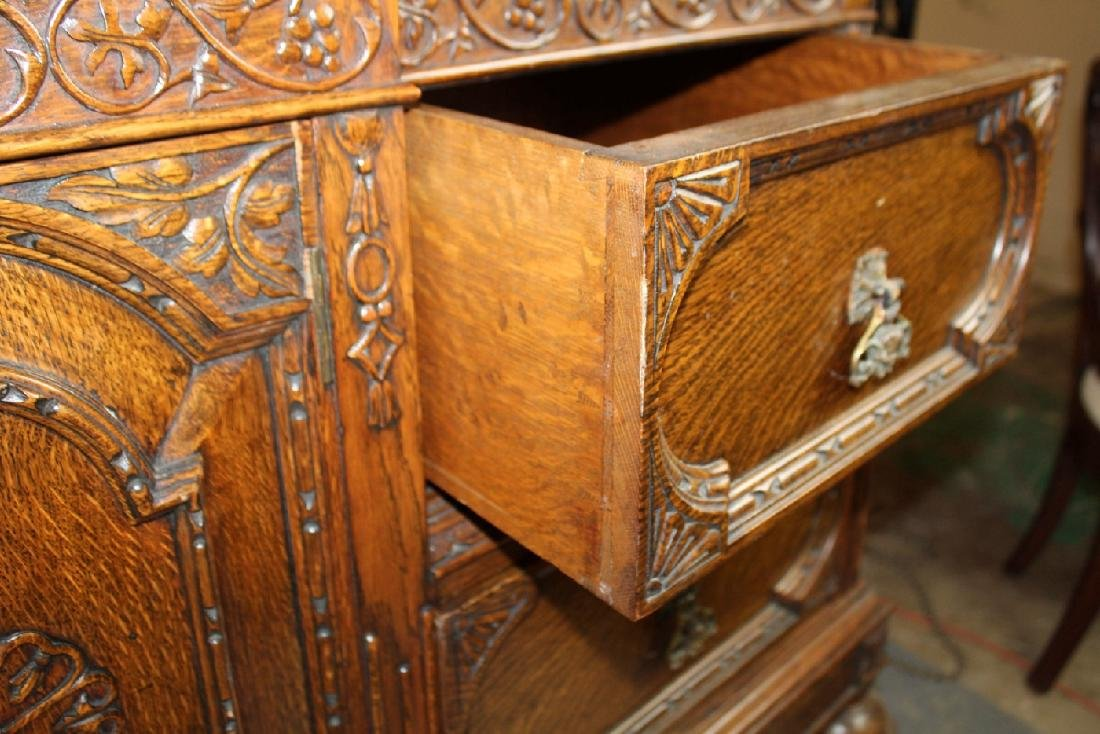 American oak carved sideboard - 5
