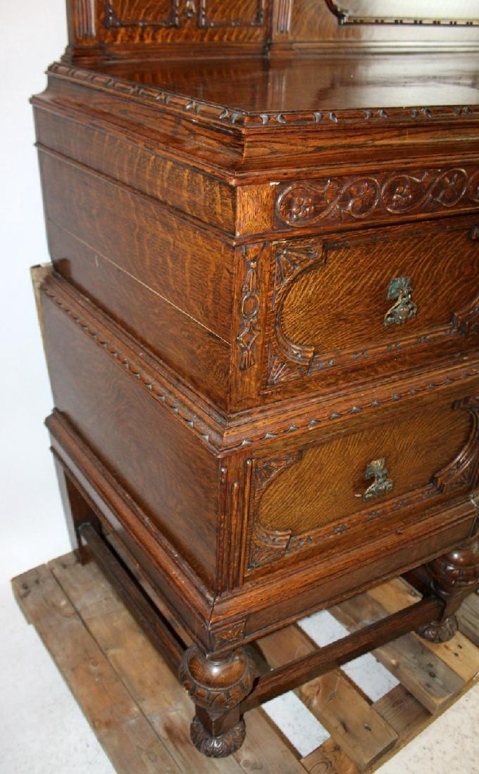 American oak carved sideboard - 6