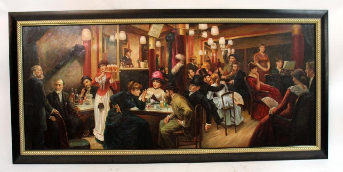 Large scale oil on canvas depicting tavern scene