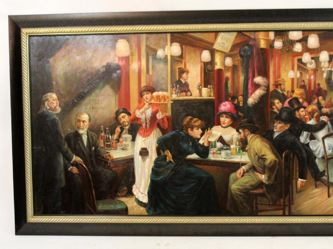Large scale oil on canvas depicting tavern scene - 3