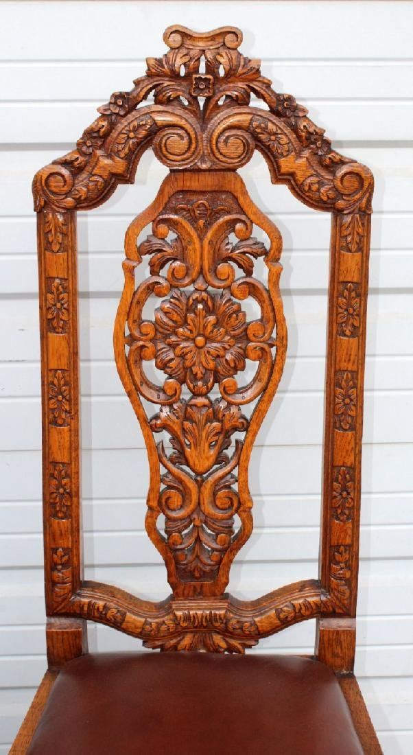 6 American carved oak dining chairs - 3