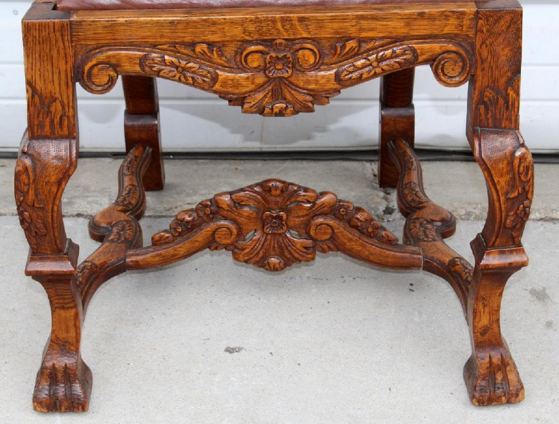 6 American carved oak dining chairs - 4