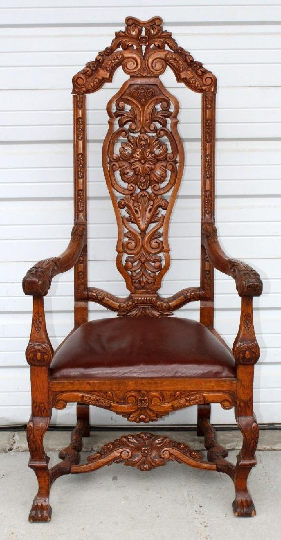 6 American carved oak dining chairs - 6