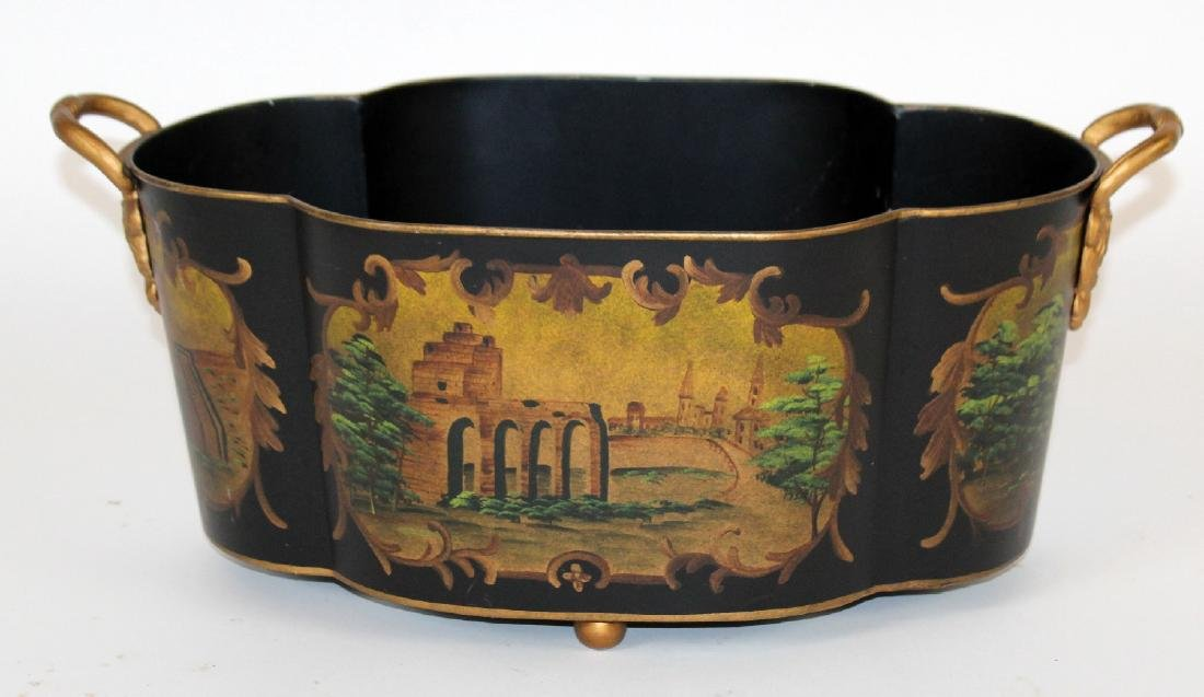 Tole black and gold painted planter