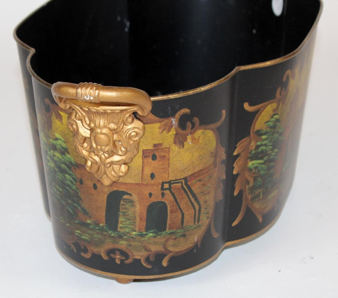 Tole black and gold painted planter - 2