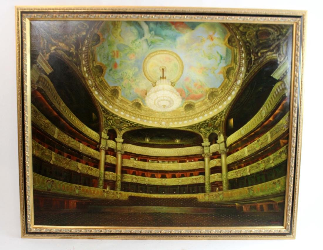 Oil on canvas depicting Paris opera house