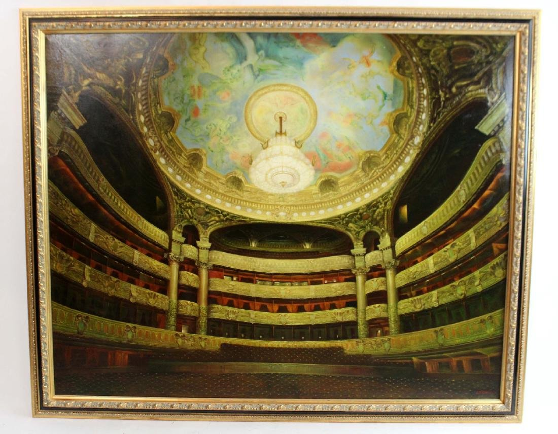 Oil on canvas depicting Paris opera house - 2