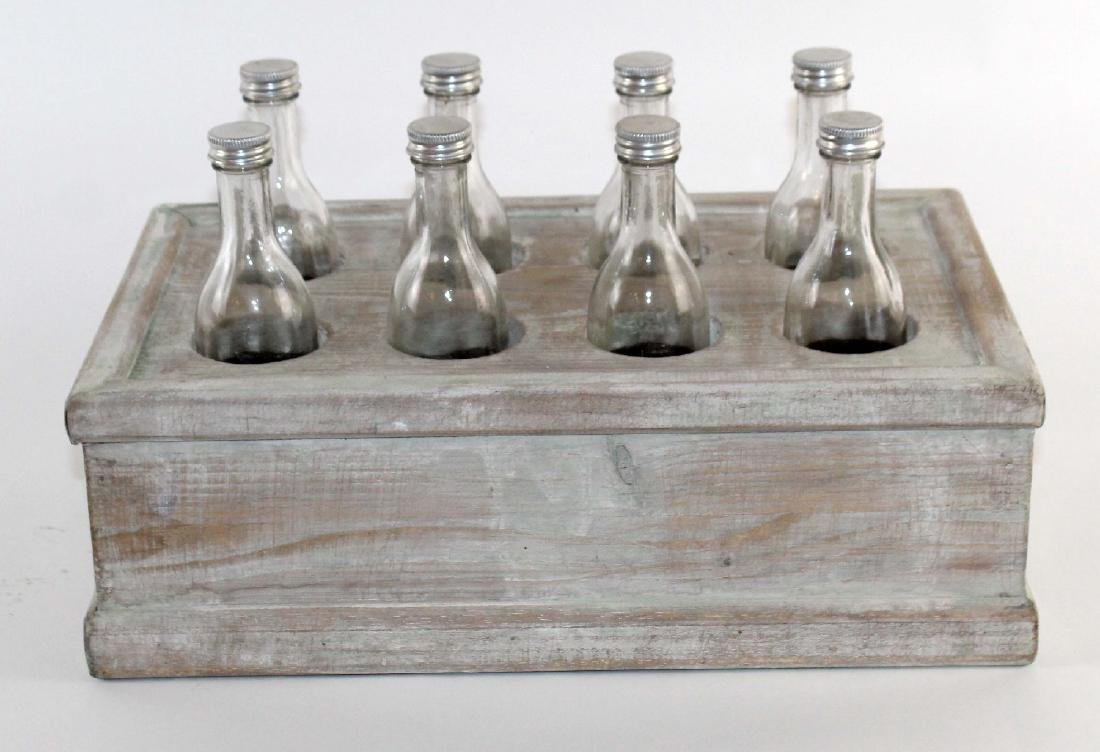 French wooden crate with bottles