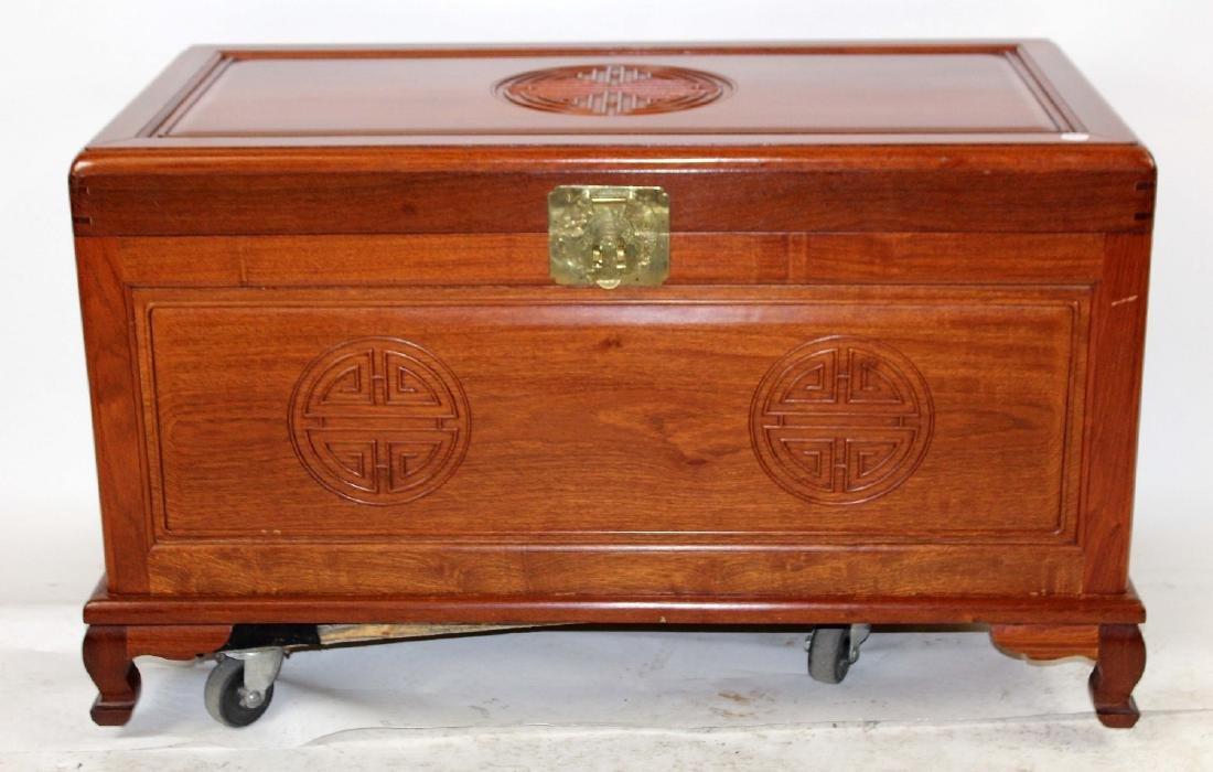 Vintage oriental mahogany trunk