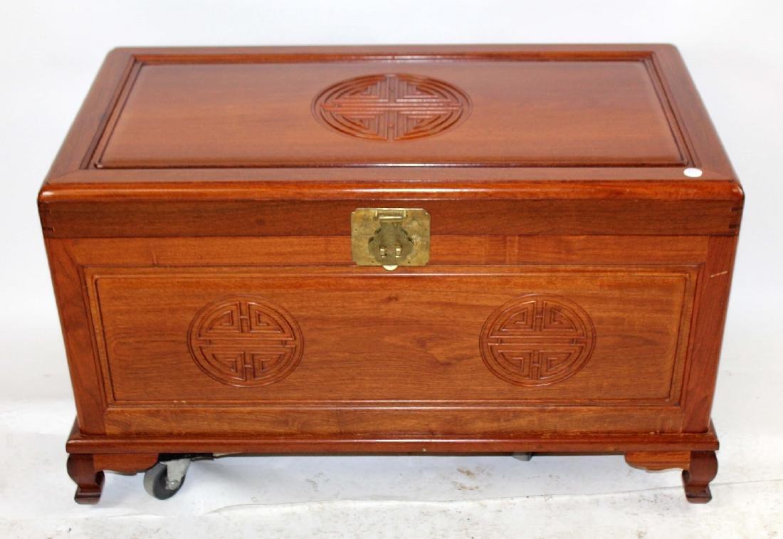 Vintage oriental mahogany trunk - 3
