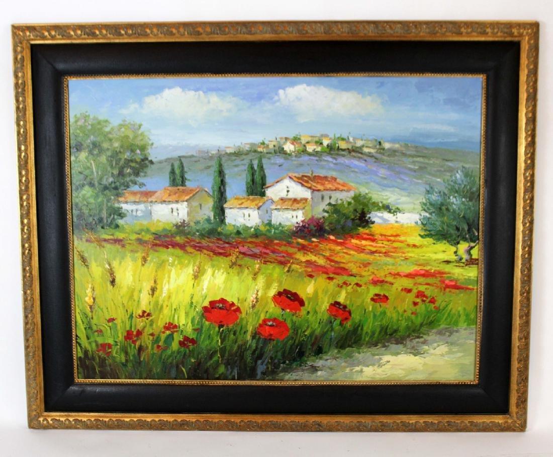Oil on canvas depicting poppy field
