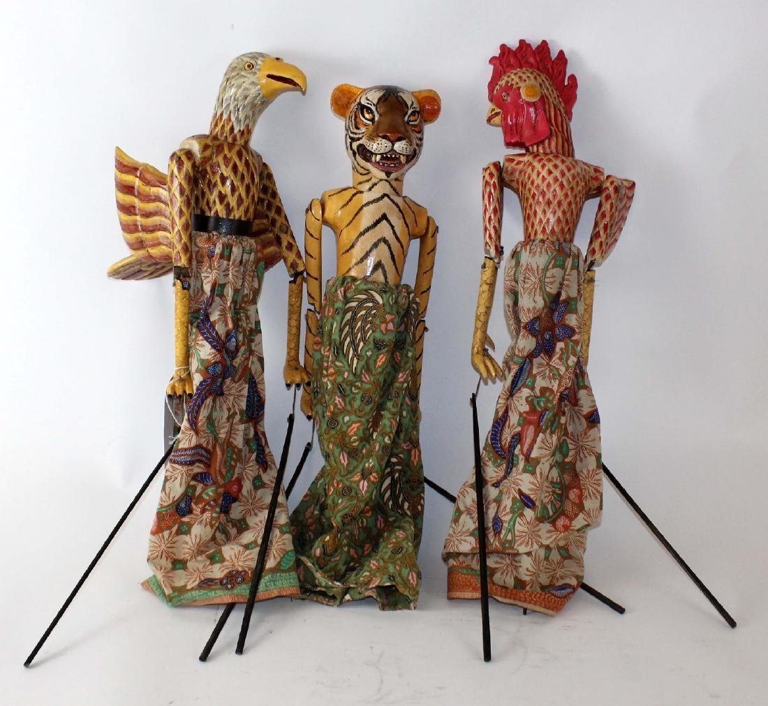 Lot of 3 Indonesian puppets - 4
