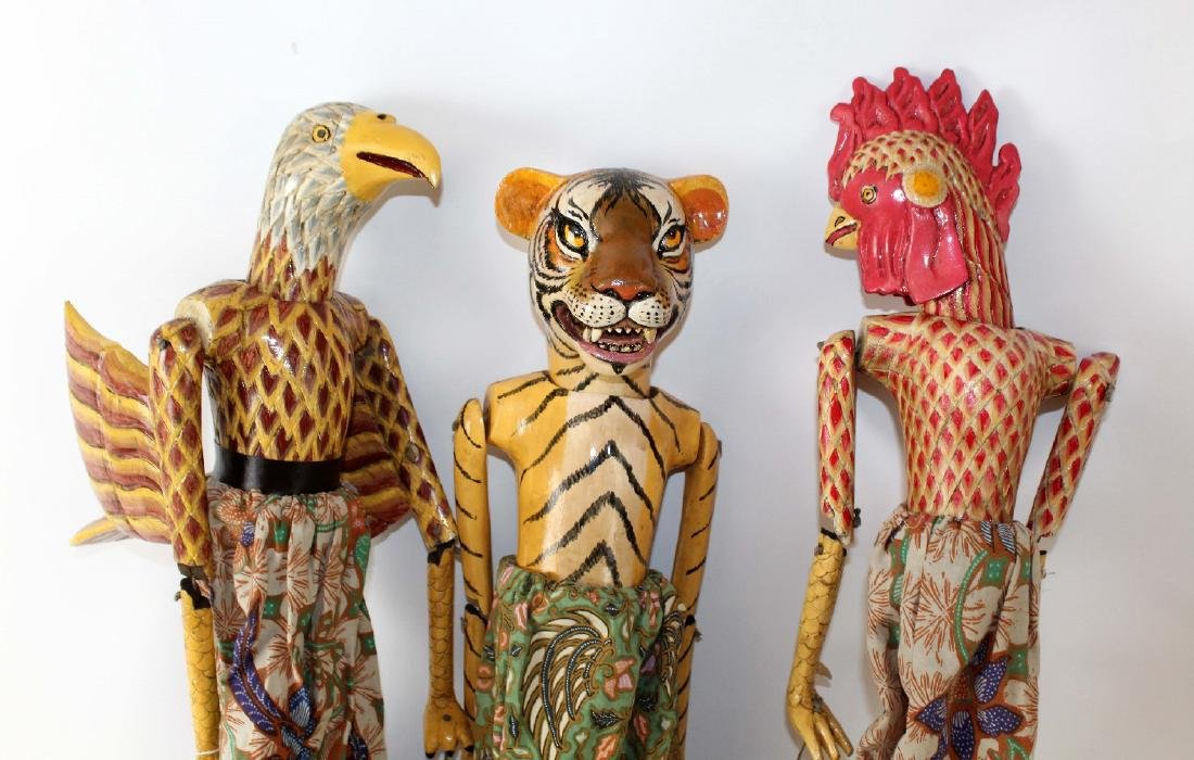 Lot of 3 Indonesian puppets - 5