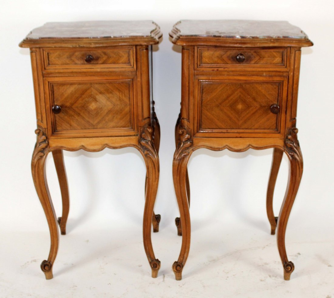 Pair of Louis XV marble top chevets