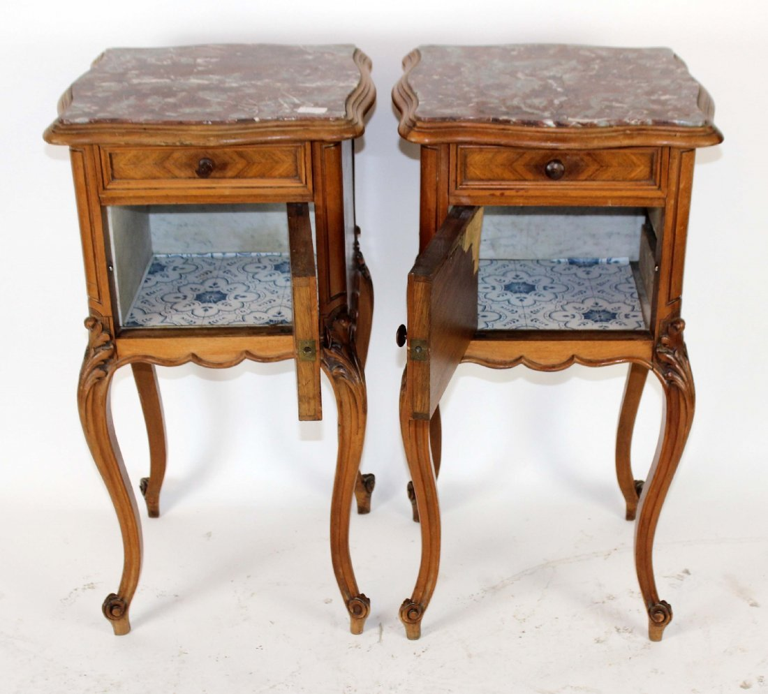 Pair of Louis XV marble top chevets - 2