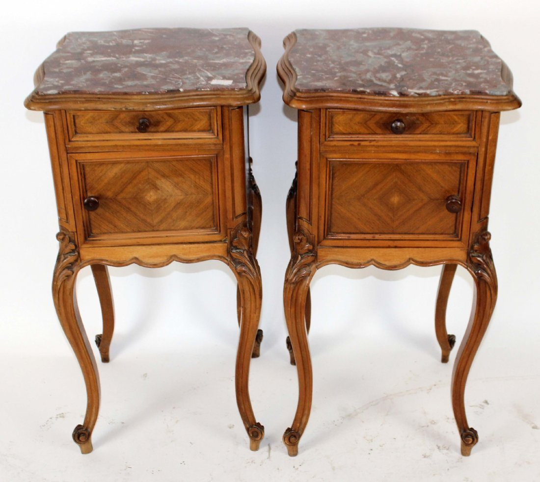 Pair of Louis XV marble top chevets - 3